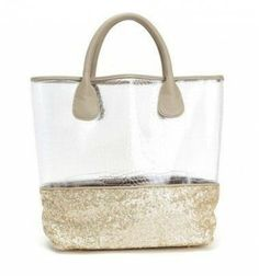 Silver metallic leather tote with gold leather and sequin accents by Witchcraft Clear Plastic Bags, Clear Bags, Sac Vanessa Bruno, Vanity Bag, Transparent Bag, O Bag, Small Bags, Womens Tote Bags, Fashion Bags