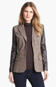 Michael Kors Faux Leather Sleeve Blazer