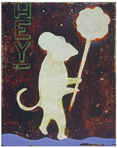 "John Randall Nelson, Title: Hey Everybody. Mixed Media painting. 22""x17"". monkey"