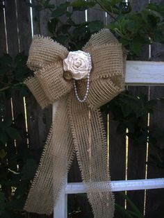 Burlap and Muslin Pew Bow by OneFunDay
