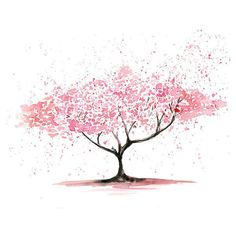 Cherry Tree -Landscape painting-Watercolor-Archival Print from my... ($19) ❤ liked on Polyvore featuring fillers, backgrounds, drawings, art, flowers, doodles, effects, text, quotes and phrase