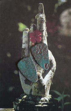 2 CABOCHONS INDIES POUR BOUCLES D'OREILLES - FIMO - ARGILE POLYMERE : Accessoires pour bijoux par atelier-fujigirls