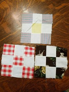 Vintage Lot of 3 Multicolor 6.5  Cotton Patchwork  Machine Stitched Quilted Squares I  am offering these as found and have not tried to clean them.  The dark one has some stitching lines.  See photos for actual condition.   https://nemb.ly/p/BkKDTt1Ol Happily published via Nembol