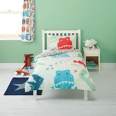 Buy little home at John Lewis Dino Was Here Single Duvet Cover and Pillowcase Set Online at johnlewis.com