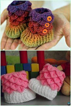 Crochet Crocodile Stitch Baby Booties Free Pattern- #Crochet Ankle High Baby Booties Free Patterns