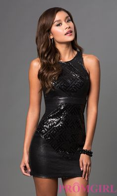 a5f75e8956 Image of short sleeveless scoop neck open back sequin dress Front Image  Black Party Dresses