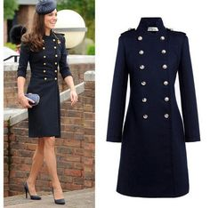 Cheap jacket coat, Buy Quality jackets wool directly from China jacket hook Suppliers: Drop Shipping New Europe Womens Warm Wool Long Double Breasted Navy Coat ,Women Kate Middleton Coat Vintage Jacket Coat S-XL Military Jacket Women, Military Fashion, Military Style, Military Jackets, Winter Coats Women, Coats For Women, Long Jackets, Outerwear Jackets, Kate Middleton Coat
