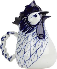 Tea Service and More - Blue and White Rooster Pitcher 4