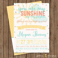 You Are My Sunshine! Baby Shower Invite: Digital File Printable   Coral And  Aqua