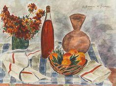 Andre Dunoyer de Segonzac    Still Life with Bottle of Wine    1940