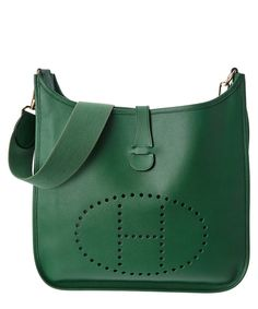 7b751c895ef5 Hermes Hermes Green Courchevel Leather Evelyn I Gm