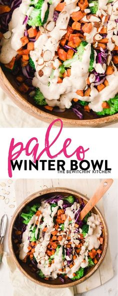 This paleo winter bowl recipe has roasted sweet potato, broccoli, finely shredded red cabbage, pulled together with a creamy vegan almond and honey dressing. Serve as a side dish or add some chicken or tofu for a healthy lunch or dinner.  via @RandaDerkso