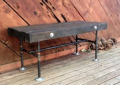 4x4 Wood and Iron Pipe Bench by NorthPeakIndustrial on Etsy, $475.00