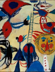 Constant Nieuwenhuys, Het laddertje (The Ladder), 1949, oil on canvas, 87.8 x 75.3 cm