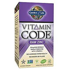 Garden of Life Vitamin Code Raw Zinc, Whole Food Zinc Supplement + Vitamin C, Trace Minerals & Probiotics for Immune Support, Certified Vegan Non-GMO & Gluten Free Zinc Supplements, 60 Capsules Chewable Vitamins, Prenatal Vitamins, Hair Vitamins, Liquid Vitamins, Best Zinc Supplement, Zinc Capsules, Zinc Supplements, Health, Healing