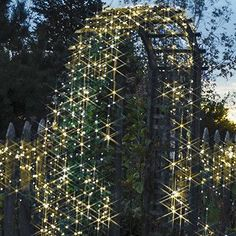 These solar-powered (Warm-White) decorating lights are simply brilliant: No energy costs; No outlet needed 100 lights, 55 feet length / 16m 76cm Decorate anywhe
