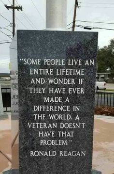Perfectly said.  Thank you to all of the veterans who protect us.