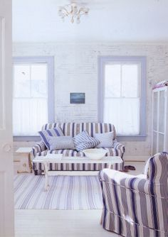 Beach blues, deckchair stripes and chippy white paint - The Paper Mulberry: If you dream of sand dunes and salty air. Coastal Living, Cottage Living, Coastal Style, Paper Mulberry, Painted Brick Walls, Blue And White Fabric, Cottages By The Sea, White Houses, Soft Furnishings