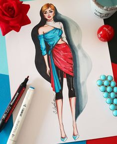 Color-blocking for spring 💙❤ . Dress Design Drawing, Dress Design Sketches, Fashion Design Sketchbook, Fashion Design Drawings, Fashion Sketches, Fashion Illustration Collage, Fashion Illustration Dresses, Fashion Painting, Fashion Art