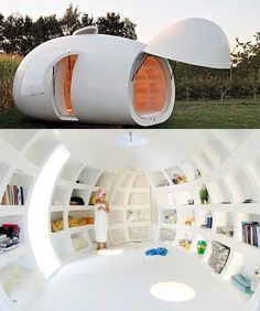 "This egg shaped guest house was designed by Belgian architectural firm dmvA.  ""http://www.dmva-architecten.be/""  It includes a bathroom, lighting, a bed and several niches for storage. It can also be used as an office and is easily transportable."