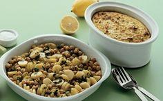 Selleripostej med marinerede kartofler er en lækker vegetarisk opskrift. Den velsmagende selleripostej akkompagneres af lækre marinerede kartofler og kikærter - prøv det!