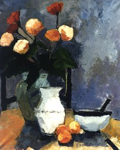 """Bouquet orange et mandarines""-Bénédicte Garnier-Fihey- Oil on canvas"