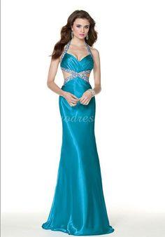 side cut out long crystals satin halter prom dress - Wegodress.com