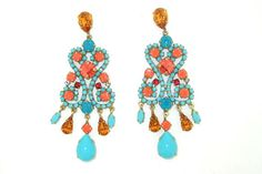 Turquoise Blue Coral Glass and Crystal Chandelier Pierced Earrings by Frangos