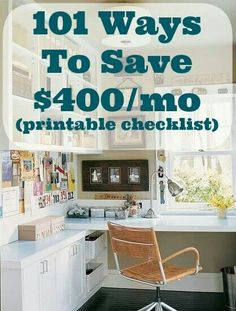 101 Ways To Save $400/mo (printable checklist) | http://diycozyhome.com/101-ways-to-save-400-a-month-checklist-printable