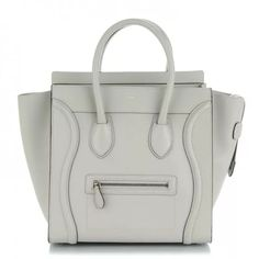 396e3c3ecc1d CELINE Smooth Calfskin Mini Luggage Light Grey