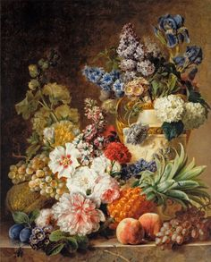 "Gerard van Spaendonck (1746 - 1822) - ""A Flower Still Life with Fruit on a Marble Table"", 1779"