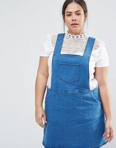 Get this NVME's basic dungarees now! Click for more details. Worldwide shipping. NVME Plus Denim Pinafore Dress With Side Zips - Blue: Plus-size pinafore dress by NVME, Lightweight stretch denim, Square neckline, Classic pinafore design, Side zips, Functioning pockets, A-line skirt, Regular fit - true to size, Machine wash, 70% Cotton, 25% Polyester, 3% Viscose, 2% Elastane, Our model wears a UK 18/EU 46/US 14 and is 173cm/5'8 tall, Top not included. (peto, pichi, pichis, petos, breastplate…