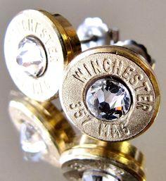 357 MAGNUM Winchester Bullet Earrings CHOICE Swarovski Crystal Gold Brass MAG #BulletVarieties #Stud