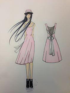 """Little Miss Lavender "" Fashion Sketch, Fashion Illustration"