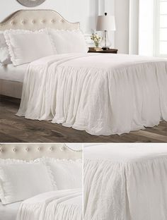 This is perfect! I love the simple elegance of this bedspread! This would be perfect for a farmhouse themed bedroom! Antique Farmhouse, Country Farmhouse Decor, Farmhouse Style Kitchen, Modern Farmhouse Kitchens, Country Chic, Bedroom Themes, Bedroom Decor, Bedroom Ideas, Ruffle Bedspread