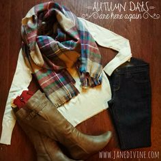 Fall Fashion, Fall Outfit Winter Fashion, Accessories, Wardrobe Basic, Gift Idea, Cute & Cozy Plaid Scarf-Multi!, Dark Wash Skinny Jeans, Ye Old V-Neck Sweater in Beige, Saddle Back Wedge Boots, Buttons  & Lace Leg Warmers in Red, by Jane Divine Boutique www.janedivine.com #janedivine
