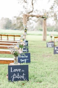 Outdoor wedding ceremony decor love quotes as aisle markers {Amy Maddox Photogr. Outdoor wedding ceremony decor love quotes as aisle markers Amy Maddox Photography The post Nick and Jordans Wedding in . Wedding Aisles, Outdoor Wedding Decorations, Fall Wedding, Wedding Events, Wedding Bouquets, Rustic Wedding, Dream Wedding, Outdoor Weddings, Outdoor Wedding Ceremonies