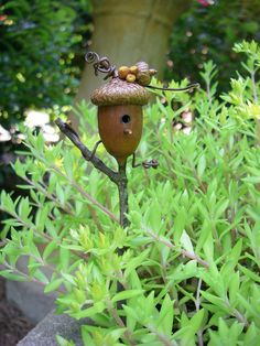 A fairy birdhouse made from an acorn