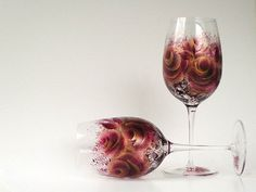 Painted Fine CRYSTAL Wine Glasses Burgundy by HandPaintedPetals, $72.00