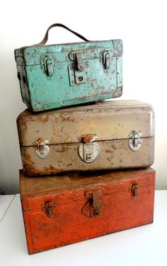 Union Metal Storage Box // Toolbox With Rust And Chipped Paint Rustic Fall Decor
