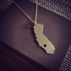 California Love Location of Heart is Made to Order. $38.00, via Etsy.