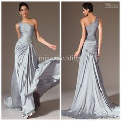Wholesale Prom Dresses - Buy 2014 Best Selling One Shoulder A Line Brush Satin-chiffon Silver Long Prom Gowns Ruched Sexy Evening Dresses Plus Size Mother of the Bride G, $125.0 | DHgate