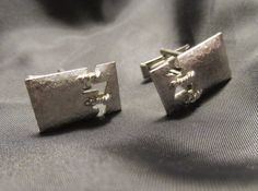 Silver Tone Metal Stitched Design Cuff Links by DresdenCreations, $12.00