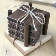 Custom Set of 6 Wooden Coasters with Holder
