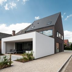 Projecten - Architect Aalst, Tom Lierman - bureau voor architectuur en interieur Bungalow Extensions, House Extensions, House Cladding, Facade House, Interior Exterior, Home Interior, House Extension Design, House Design, Woodland House