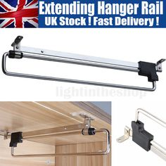 Wardrobe Pull Out Retractable Clothes Hanger Extend Rail Organizer Rack 25-50 cm | eBay