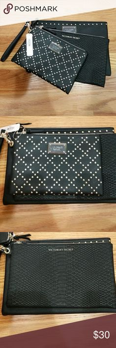 3 Victoria's Secret Wristlets Brand new, never woren wristlets. It comes with one wristlet strap and you can use on one of the bags. This is great for a night out when you don't want a big hand bag with you. My phone fits in all 3. Victoria's Secret Bags Clutches & Wristlets