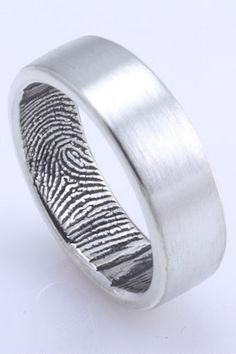 Alternative Guys Wedding Band - Fabuluster The Original Custom Fingerprint Wedding Band in Sterling Silver, $195, available at Fabuluster.