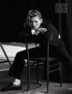 Kate Moss in a suit // Photo by Peter Lindbergh for Vogue Italia