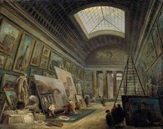 Imaginary View of the Grande Galerie in the Louvre - Hubert Robert Gallery - Interior Painting Art View C Art Romain, Art Gallery, Louvre Paris, Art Ancien, Roman Art, Museum Exhibition, Traditional Paintings, French Art, French Rococo